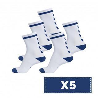 Paquete de 5 pares de calcetines de color claro Hummel Elite Indoor Low
