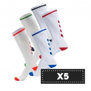 Paquete de 5 pares de calcetines de color claro Hummel Elite Indoor high (coloris au choix)