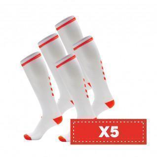 Paquete de 5 pares de calcetines de color claro Hummel Elite Indoor high